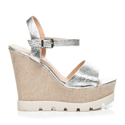 SANDÁLY SILVER WEDGE HEELS